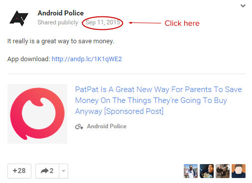 google plus submit url